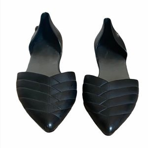 Bamboo Black Rubber Pointed Toe D'Orsay Flats 8